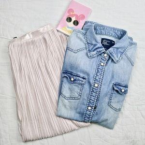 Soft Pink Topshop Jersey Skirts Pleated Midi Skirt